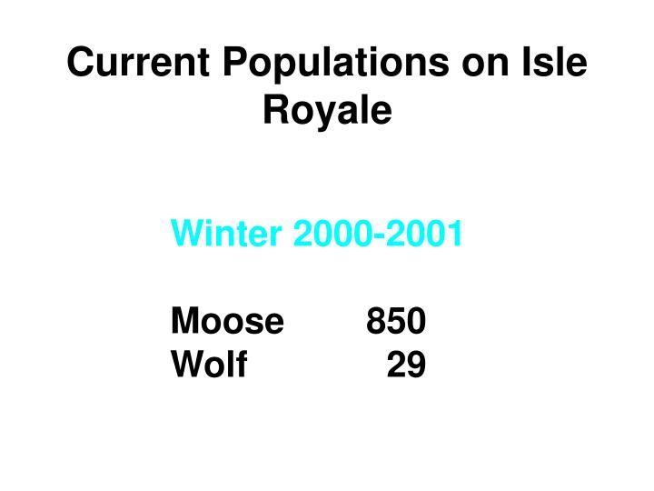 Current Populations on Isle Royale
