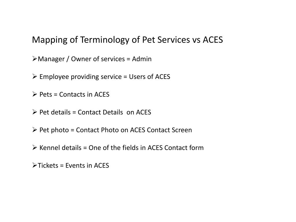 Mapping of Terminology of Pet Services vs ACES
