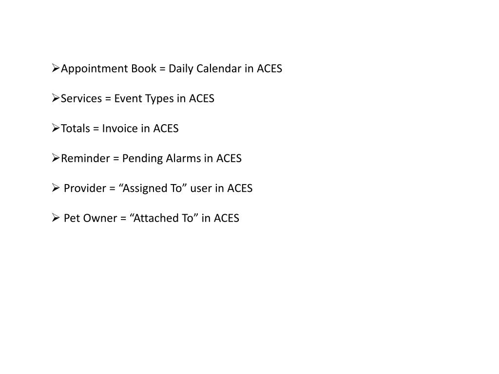 Appointment Book = Daily Calendar in ACES