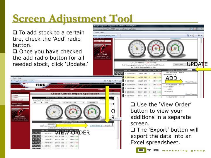 Screen Adjustment Tool