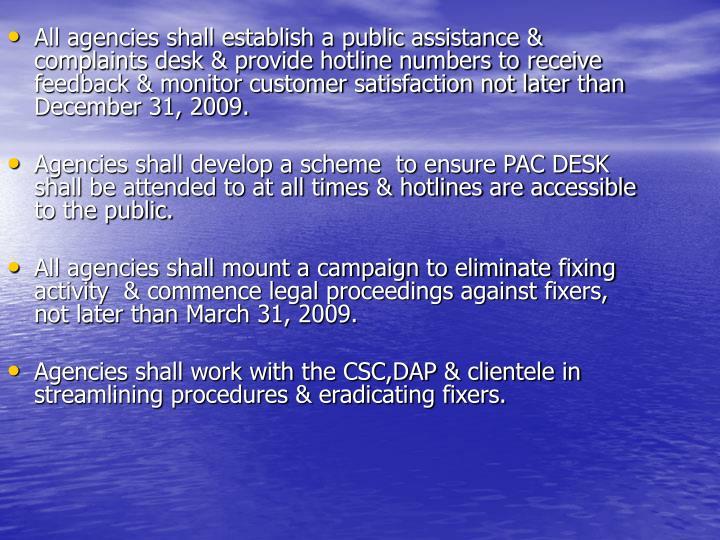 All agencies shall establish a public assistance & complaints desk & provide hotline numbers to rece...