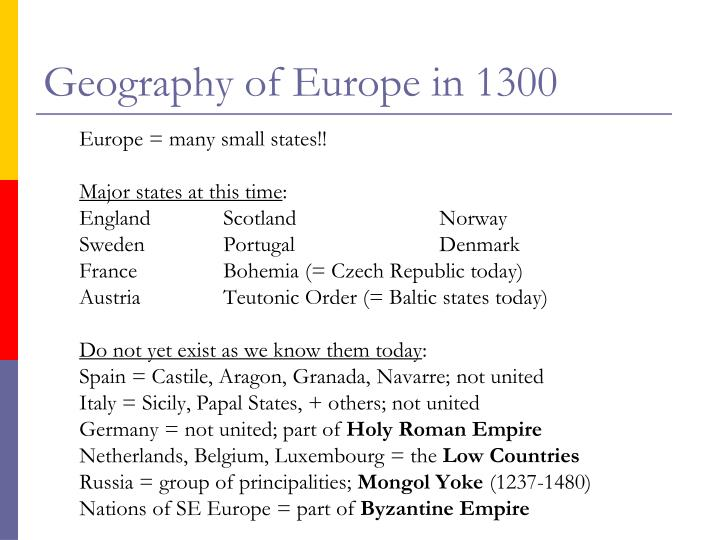 Geography of Europe in 1300