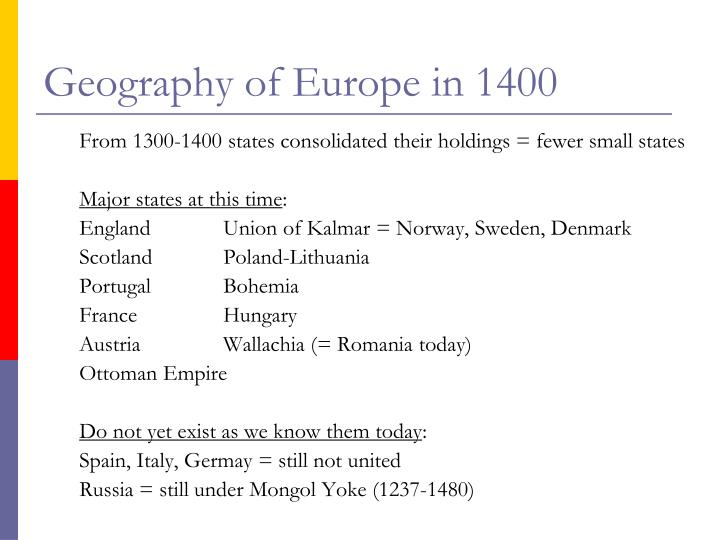 Geography of Europe in 1400