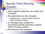 reorder point planning details