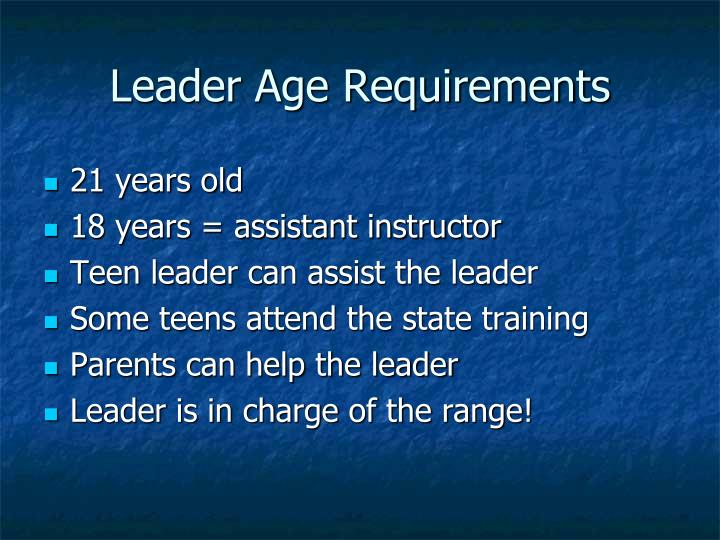 Leader Age Requirements