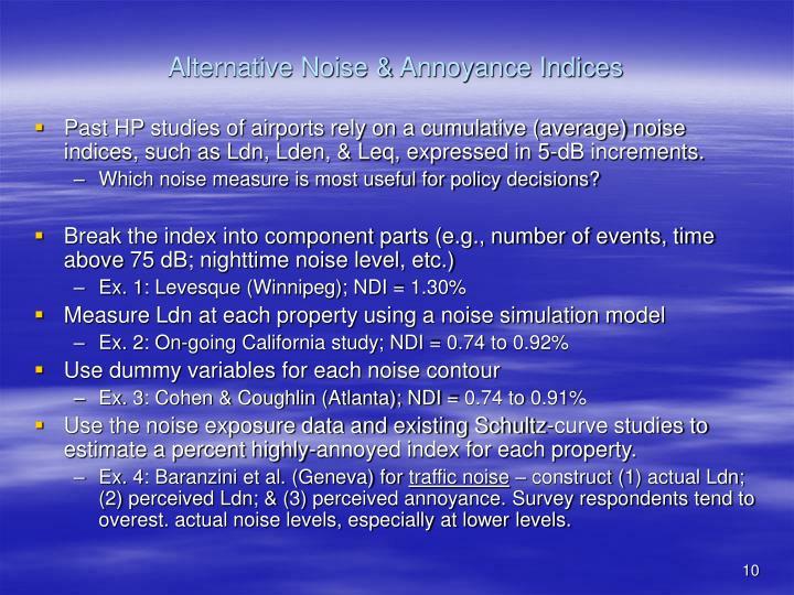 Alternative Noise & Annoyance Indices