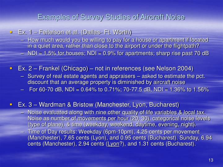 Examples of Survey Studies of Aircraft Noise