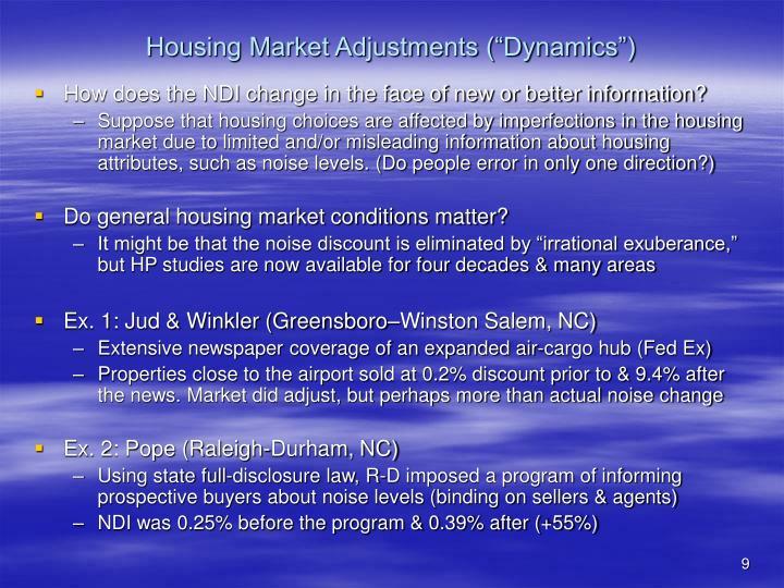 """Housing Market Adjustments (""""Dynamics"""")"""