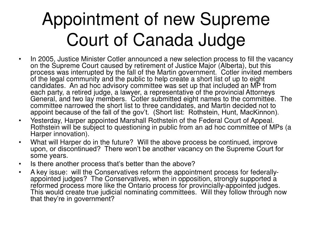 Appointment of new Supreme Court of Canada Judge