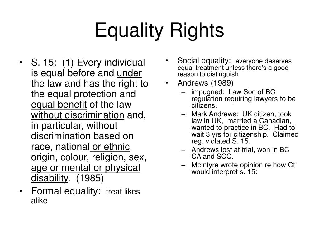 S. 15:  (1) Every individual is equal before and