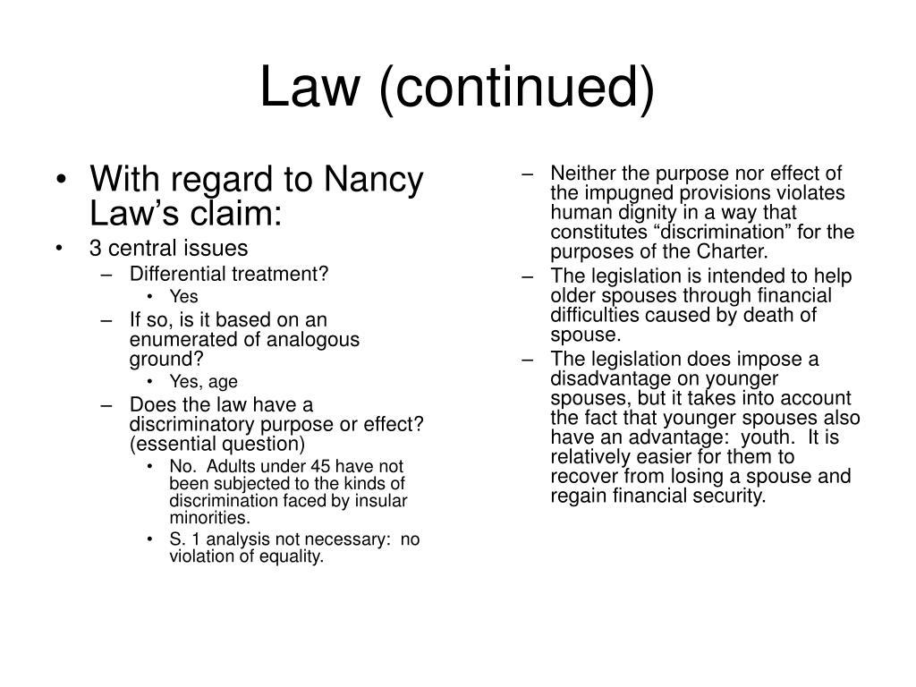 With regard to Nancy Law's claim: