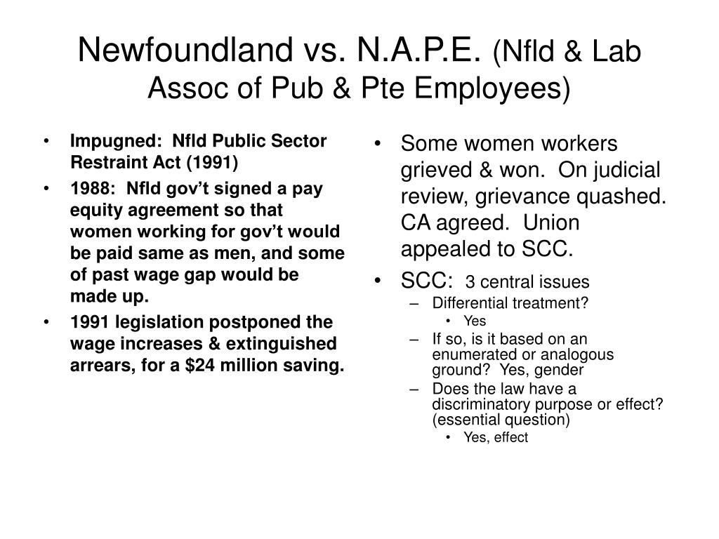 Impugned:  Nfld Public Sector Restraint Act (1991)