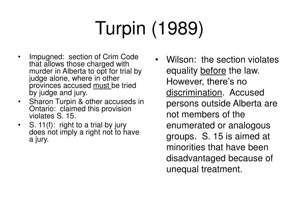 Impugned:  section of Crim Code that allows those charged with murder in Alberta to opt for trial by judge alone, where in other provinces accused