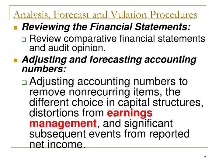 Analysis, Forecast and