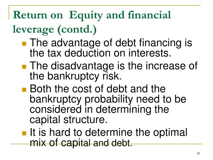 Return on  Equity and financial leverage (contd.)
