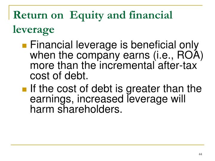 Return on  Equity and financial leverage