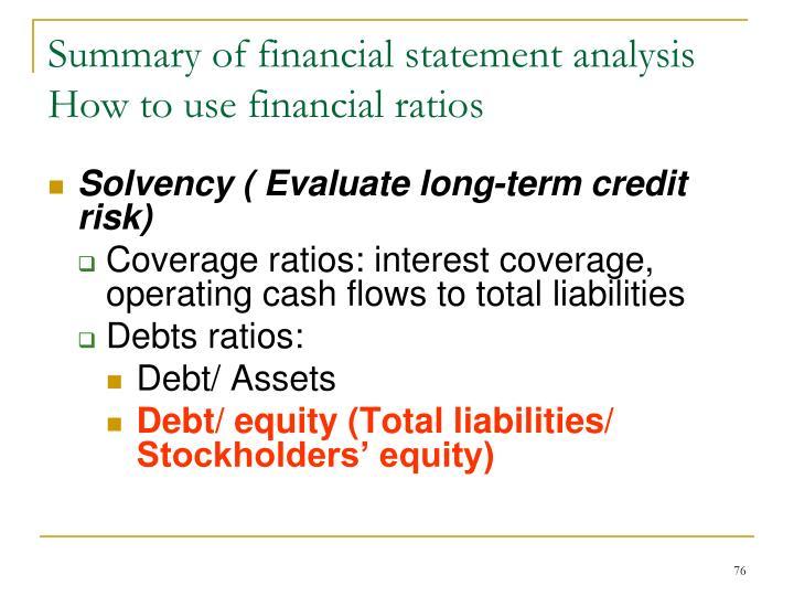 Summary of financial statement analysis