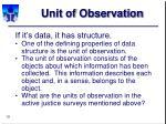 unit of observation