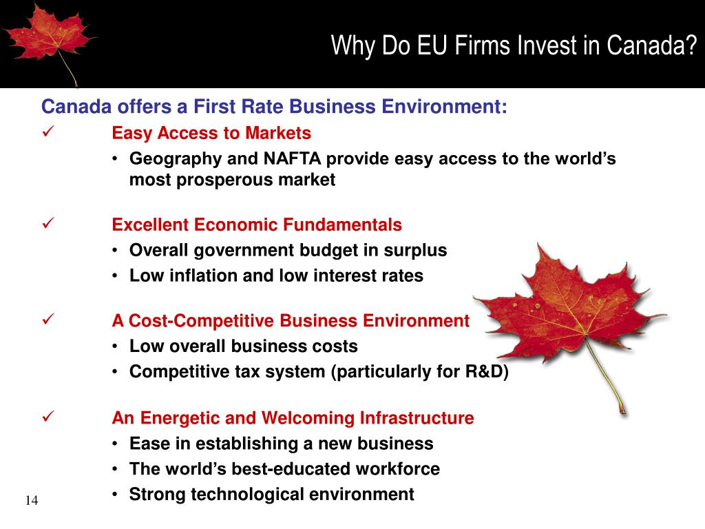 Why Do EU Firms Invest in Canada?