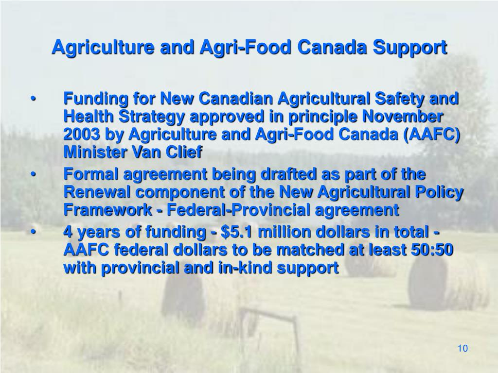 Agriculture and Agri-Food Canada Support
