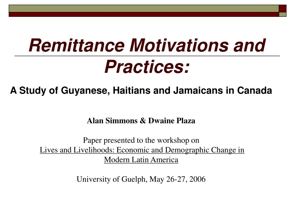 A Study of Guyanese, Haitians and Jamaicans in Canada
