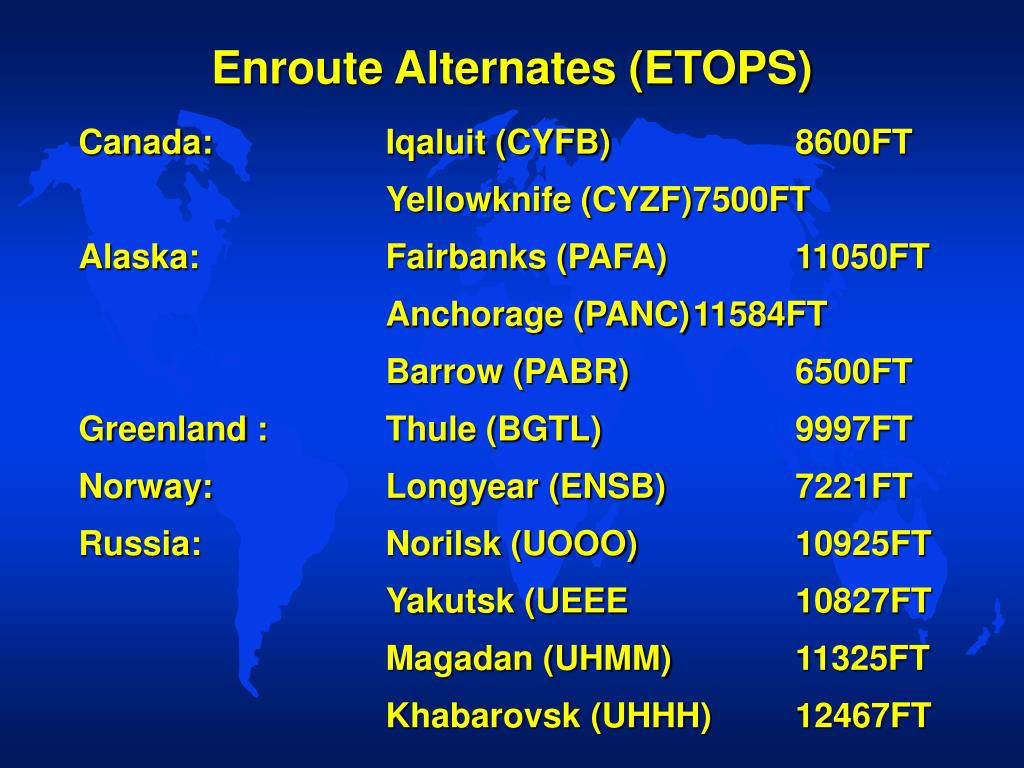 Enroute Alternates (ETOPS)