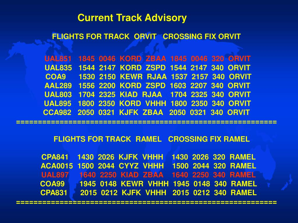 Current Track Advisory