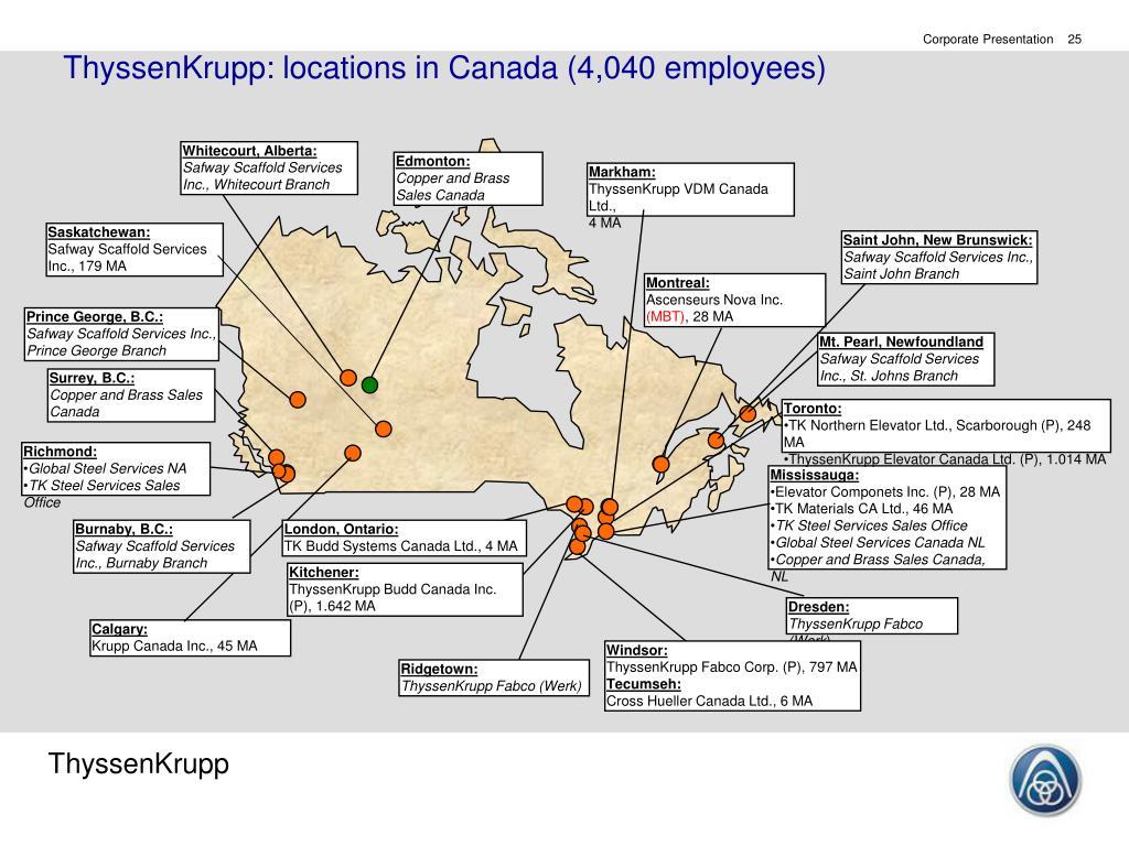 ThyssenKrupp: locations in Canada (4