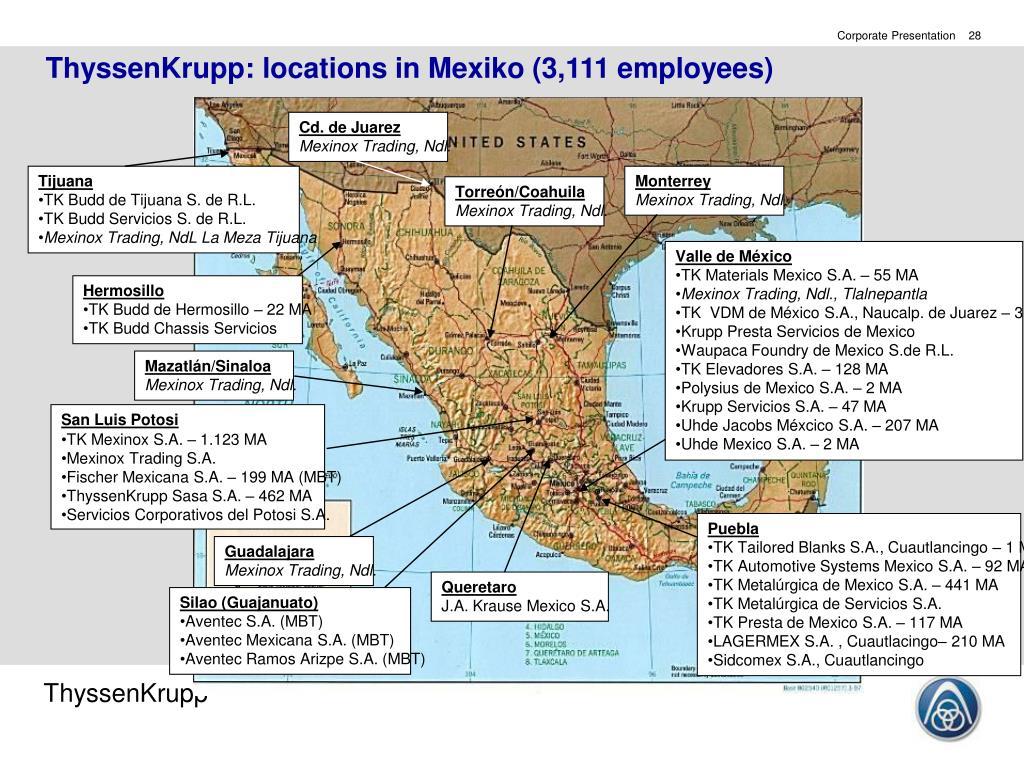 ThyssenKrupp: locations in Mexiko (3,111 employees)