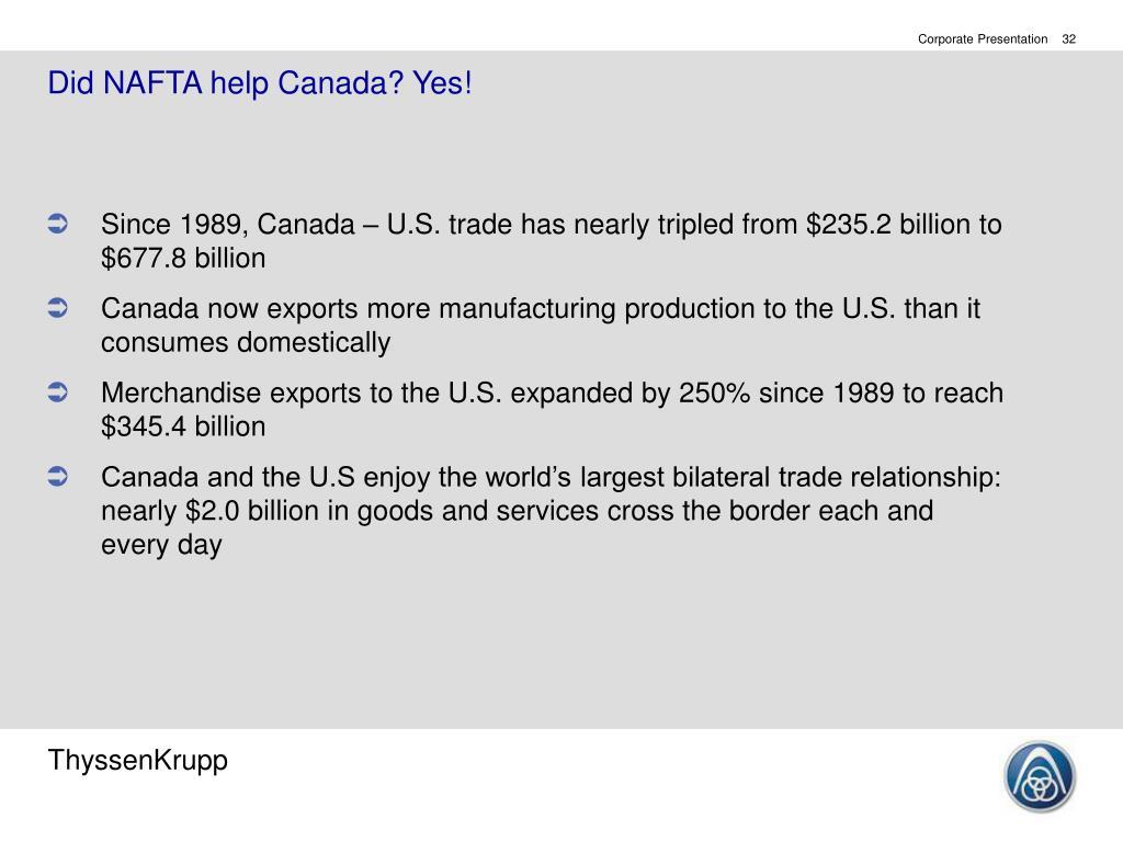 Did NAFTA help Canada? Yes!