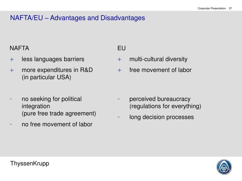 NAFTA/EU – Advantages and Disadvantages