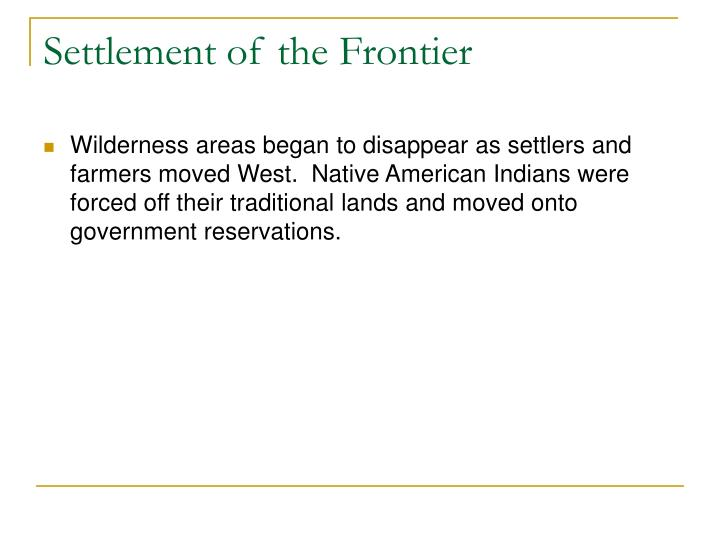 Settlement of the Frontier