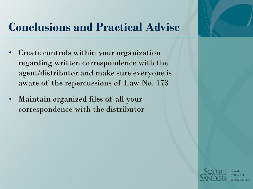 Conclusions and Practical Advise