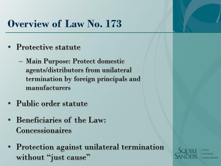 Overview of law no 173