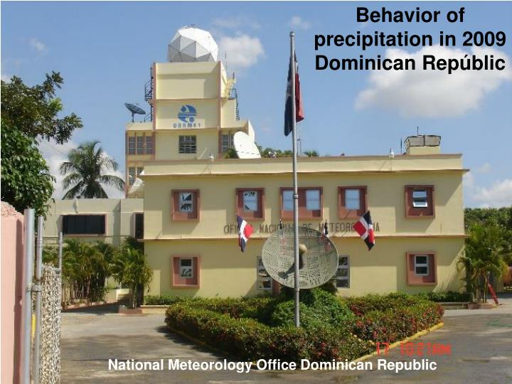 Behavior of precipitation in 2009 Dominican Repúblic