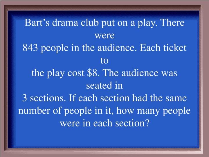 Bart's drama club put on a play. There were