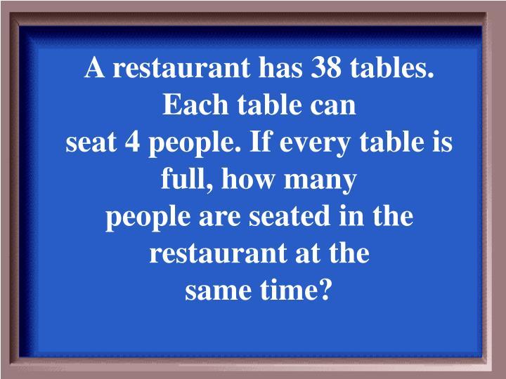 A restaurant has 38 tables. Each table can