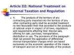 article iii national treatment on internal taxation and regulation