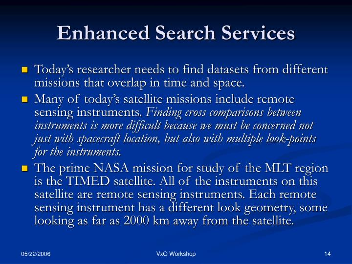 Enhanced Search Services