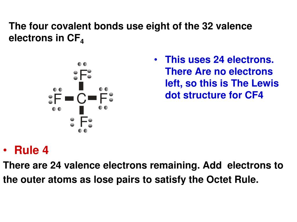 the four covalent bonds use eight of the 32 valence electrons in cf4