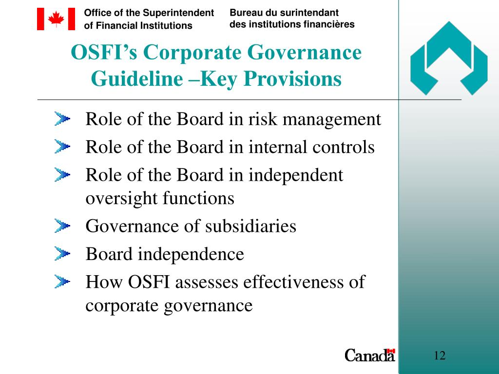 OSFI's Corporate Governance Guideline –Key Provisions