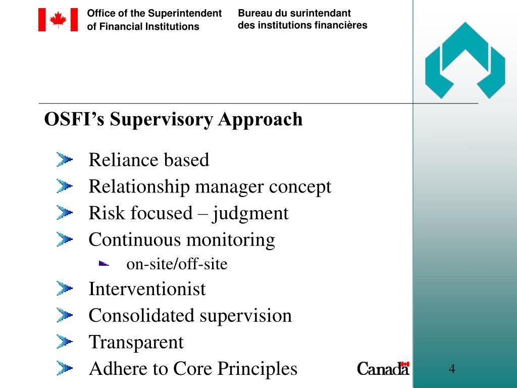 OSFI's Supervisory Approach