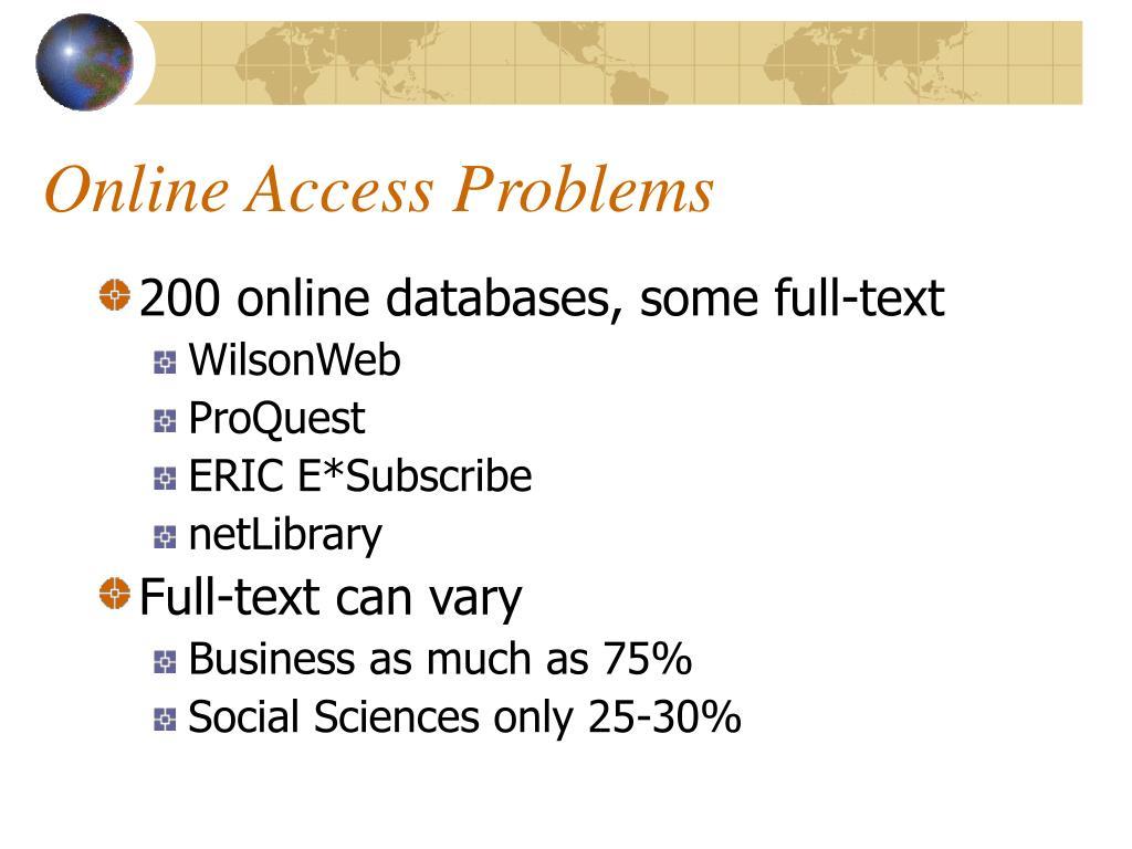 Online Access Problems