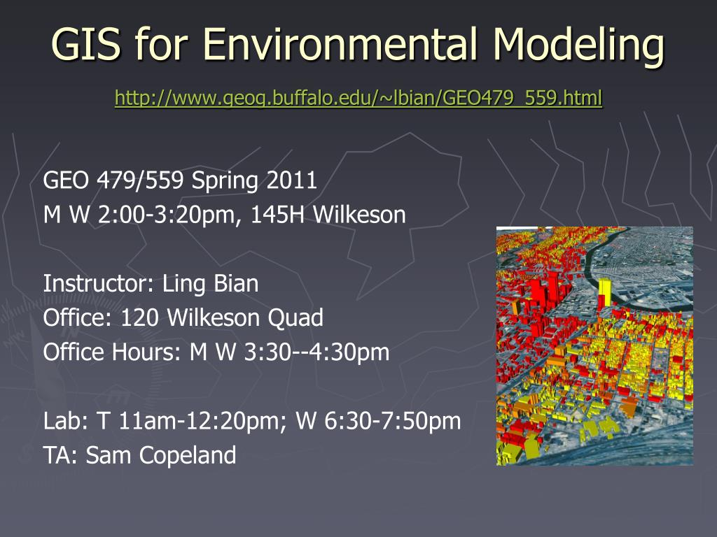 gis for environmental modeling http www geog buffalo edu lbian geo479 559 html l.