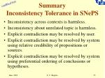 summary inconsistency tolerance in sneps