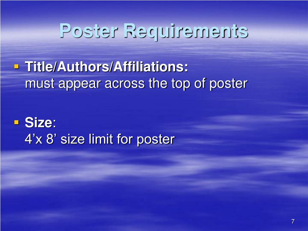 Poster Requirements