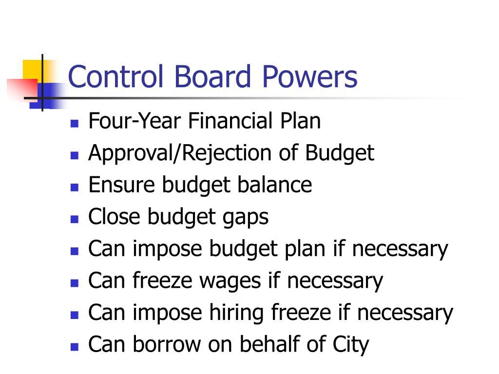 Control Board Powers