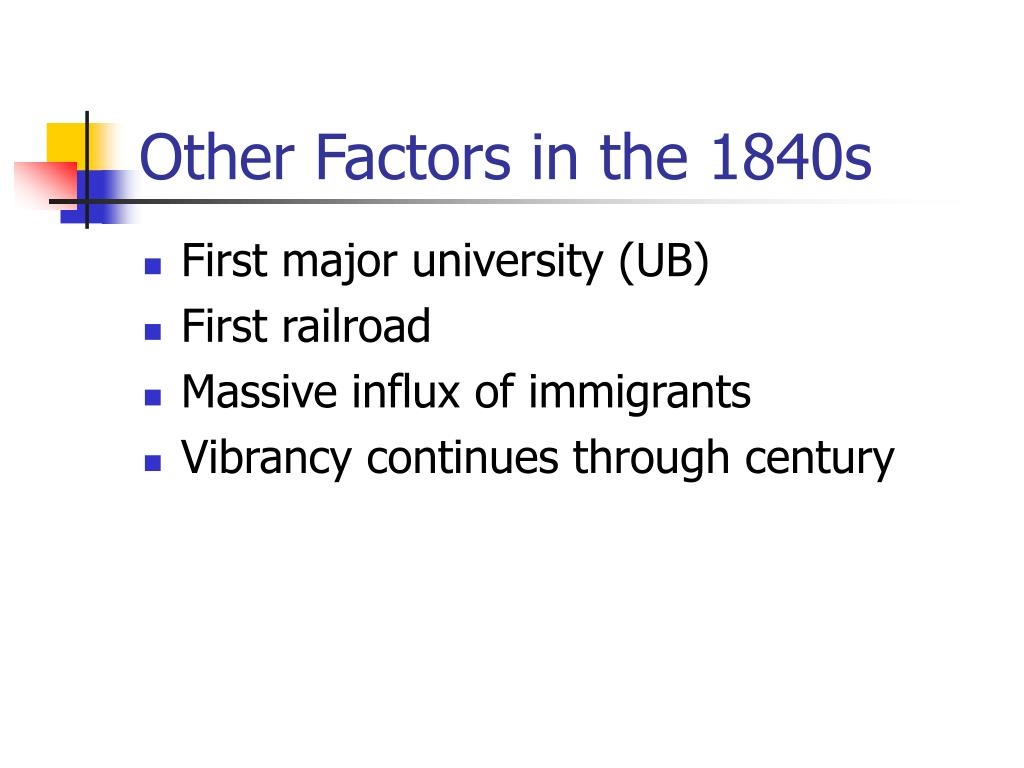 Other Factors in the 1840s