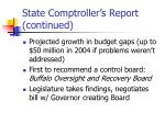 state comptroller s report continued