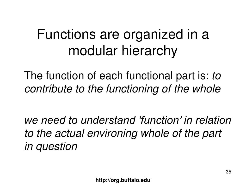 Functions are organized in a modular hierarchy
